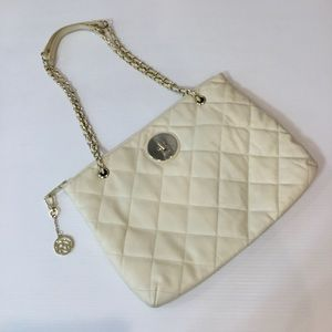 DKNY Leather Ivory Quilted Convertible Chain Bag